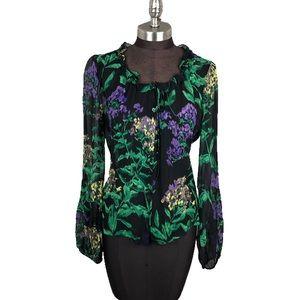 Elie Tahari 100% Silk Sheer Floral Button Blouse